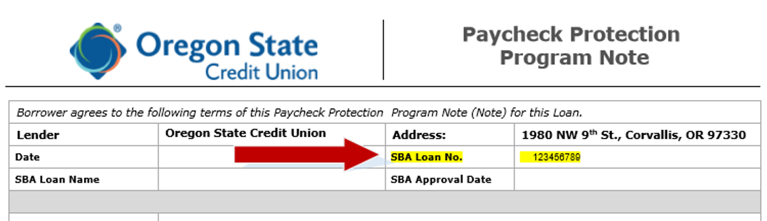 SBA PPP loan number location - Sample Oregon State Credit Union Note