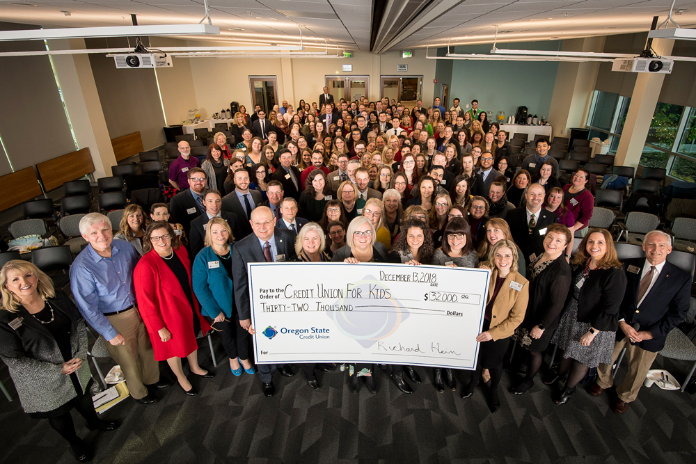 Donation 2018 from Oregon State Credit Union to Childrens Miracle Network
