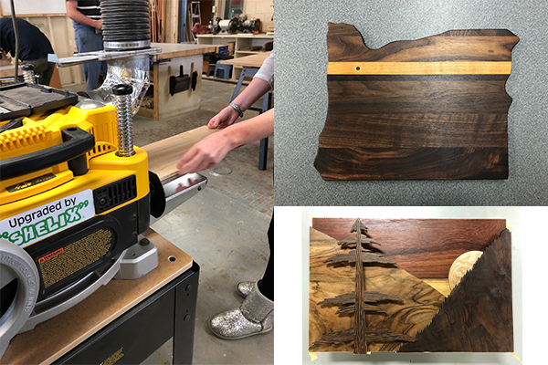 Wood shop planer new cutting head with student projects